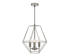 4 Light Wire Lantern Pendant In Satin Chrome - ID 9467