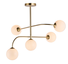 Aultbea Brushed Brass & Opal Glass 5 Light Ceiling Light - ID 9648