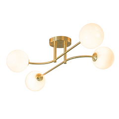 Aultbea Brushed Brass & Opal Glass 5 Light Ceiling Light - ID 9649