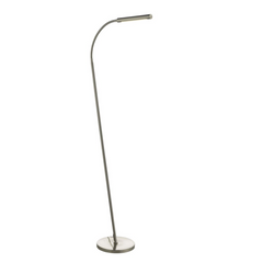 Tobermory Sleek Satin Chrome LED Floor Lamp With Adjustable Neck - ID 9426