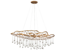 Dew Oval Brushed Gold Organic Chandelier - ID 10288