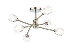 Abbey Wood Antique Brass 6 Arm Ceiling Light - ID 7940