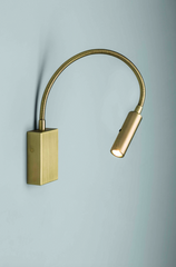 Satin Brass Flexible Bedside Reading Light with Switch on Head - ID 10432
