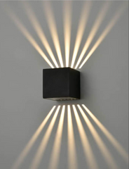 AUR Compact Square Light Pattern Aluminium Matt Black Outdoor Wall Light - ID 10817