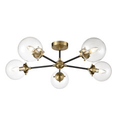 Cricklewood 5 Globe Black & Gold Flush Ceiling Light - ID 8836