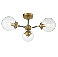 Cricklewood 3 Globe Black & Gold Flush Ceiling Light - ID 8835