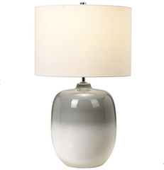 Grey/White Ceramic Table Lamp c/w Ivory Drum Shade - ID 8958