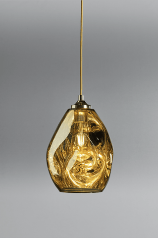 Hague Spun Glass Single Pendant In Gold - ID 9096