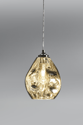 Hague Spun Glass Single Pendant In Chrome - ID 9099