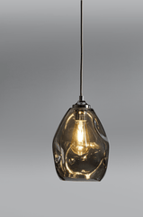 Hague Spun Glass Single Pendant In Smoked - ID 9098