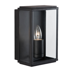 Black Outdoor Box Lantern Wall Light - ID 974