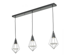 Torridon 3 Light Linear Bar Pendant In Black & Chrome With Glass Feature - 9490