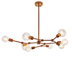 Satin Bronze 9 Arm Branch Chandelier - ID 9632