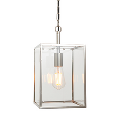 Polished Chrome Square Box Lantern - ID 9642