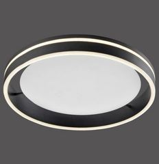 Dingwall Circular 40cm Remote Controlled LED Flush Ceiling Light In Brushed Anthracite Finish - ID 9774