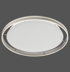 Dingwall Circular 79cm Remote Controlled LED Flush Ceiling Light In Brushed Steel Finish - ID 9791