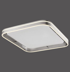 Dingwall Square 59cm Remote Controlled LED Flush Ceiling Light In Brushed Steel Finish - ID 9794 limited stock