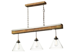 Wooden Style Triple Pendant with Clear Glass Shades - ID 9420