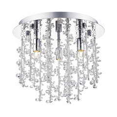 Oakleigh Polished Chrome & Crystal 3 Lamp Flush Ceiling Light - ID 5546