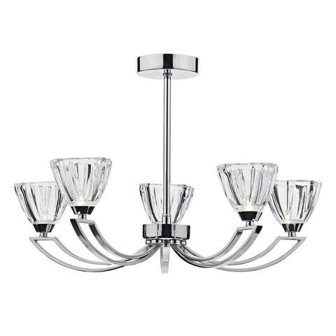 Vito Polished Chrome 5 Lights Semi-Flush - London Lighting - 1