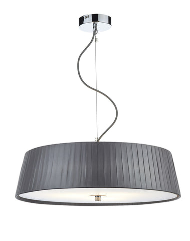 Dar Wheel 3 Lamp Pleated Grey Pendant - London Lighting - 1