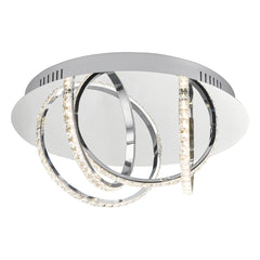 Woodford Polished Chrome and Crystal Small Flush LED Ceiling Light - ID 8152
