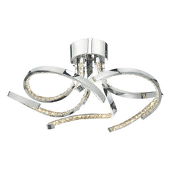 Hatton Polished Chrome and Crystal Large Flush LED Ceiling Light - ID 8153