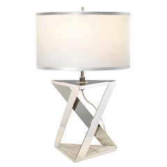 Polished Nickel Table Lamp With White Marble Base - ID 9392