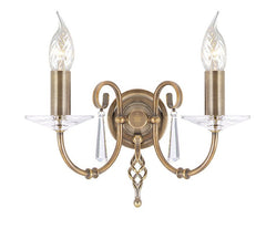 Aegean 2Lt Wall Light Aged Brass - London Lighting - 1