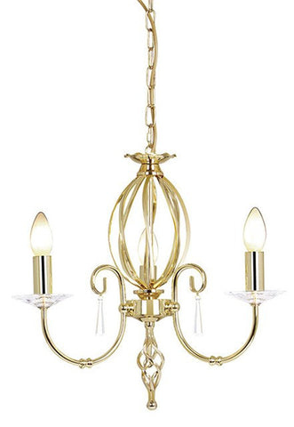 Aegean 3Lt Chandelier Polished Brass - London Lighting - 1