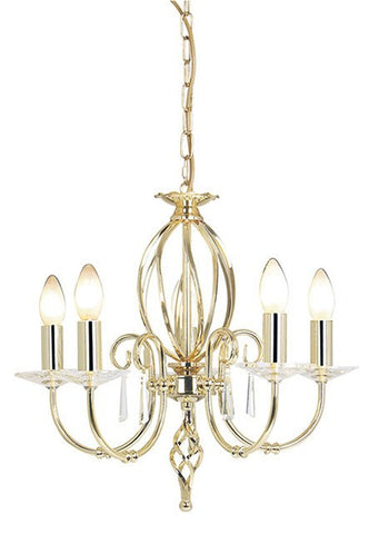 Aegean 5Lt Chandelier Polished Brass - London Lighting - 1