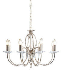Aegean 8Lt Chandelier Polished Nickel - London Lighting - 1