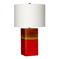 Red Ceramic Table Lamp With Cream Shade - ID 9393