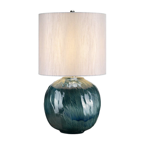 Brixton Globe Blue Table Lamp c/w Shade - ID 8356