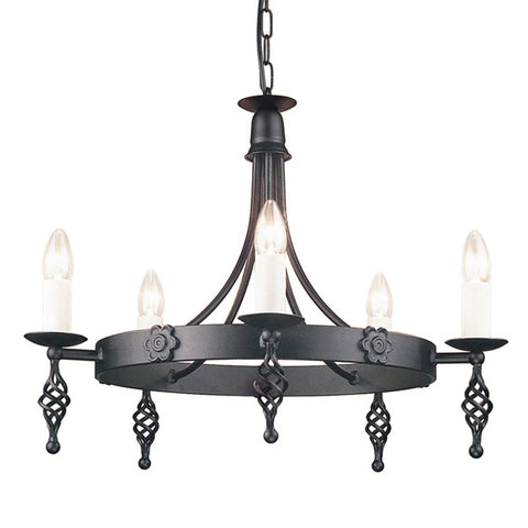 Belfry 5 Arm Chandelier Black - London Lighting - 1