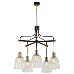 Five Light Black/Polished Brass Chandlier