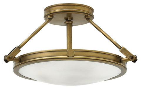 Small Three Light Heritage Brass Semi-Flush Mount Ceiling Light