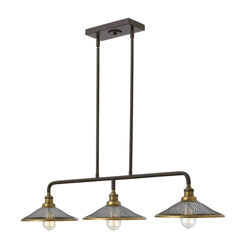 Rigby Three Light Buckeye Bronze Island Chandelier