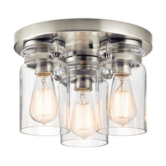Brinley Three Light Brushed Nickel Flush Mount Ceiling Light