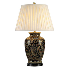 Mottingham Gold/Black Large Table Lamp c/w shade - ID 8381