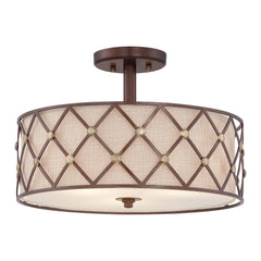 Quoizel Brown Lattice Semi-Flush Light - London Lighting - 1