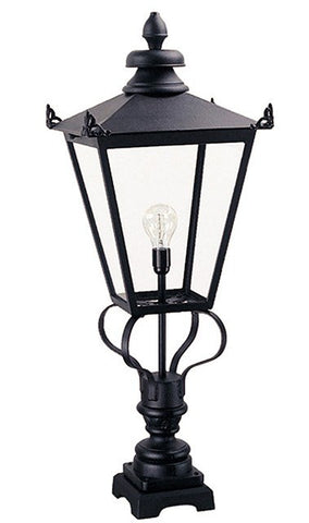 Wilmslow Pedestal Lantern Black - London Lighting - 1