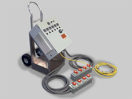 Portable, Cart Mounted Controllers with Panel or Tethered Power Distribution