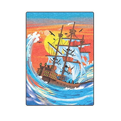 Artsadd Custom Super Soft Blanket Pirate Ship On The Ocean Big Moon Fleece Blanket 58x80 Inch Machine washable Wrap For Bedroom Sofa Car Backseat