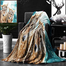 Load image into Gallery viewer, Unique Custom Digital Print Flannel Blankets Animal Two Coyote Wolf Partners Under Snowy Winter Day Wild Creatures Mammal Pictu Super Soft Blanketry for Bed Couch, Throw Blanket 50 x 70 Inches
