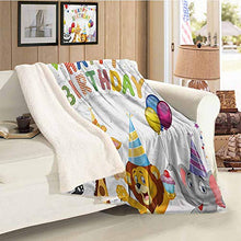 Load image into Gallery viewer, Kids Birthday Custom Blanket Cartoon Sketchy Dog Image with Colorful Balloons and Boxes Animal Fun Print Multicolor Gift Throw Blanket for Women Men Throw Size