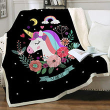 "Load image into Gallery viewer, poopmick Throw Blankets Sweet Dreams,Cartoon Sheep Custom Blankets W60 X L35 Inch 50"" X 60"""