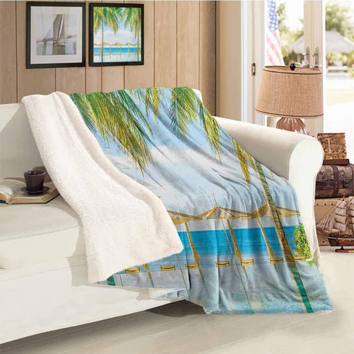 Landscape Custom Blanket Exotic Beach with Pool Nature with Soft Sun Rays Fantastic Holiday Theme Print Green Blue for Family and Friends Blanket Throw Size