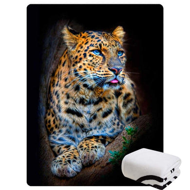 Morebee Leopard Fleece Throw Blanket Custom Design Soft Lightweight Blanket for Bed Couch Sofa Travelling Camping(59