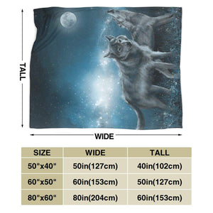 "Usie2s Wolf in The Moonlight Custom Fleece Plush Throw Blanket Smooth and Soft Microfiber Blanket Flannel Sofa Chair Bed Blanket Office New Year Gift Men and Women 80""x60"""